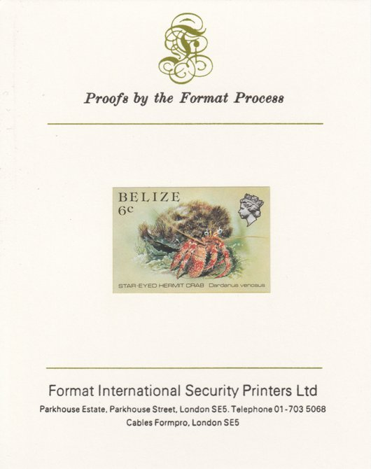 Belize 1984-88 Hermit Crab 6c def imperf proof mounted on Format International proof card as SG 771