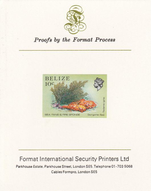 Belize 1984-88 Sea Fans & Fire Sponge 10c def imperf proof mounted on Format International proof card as SG 772