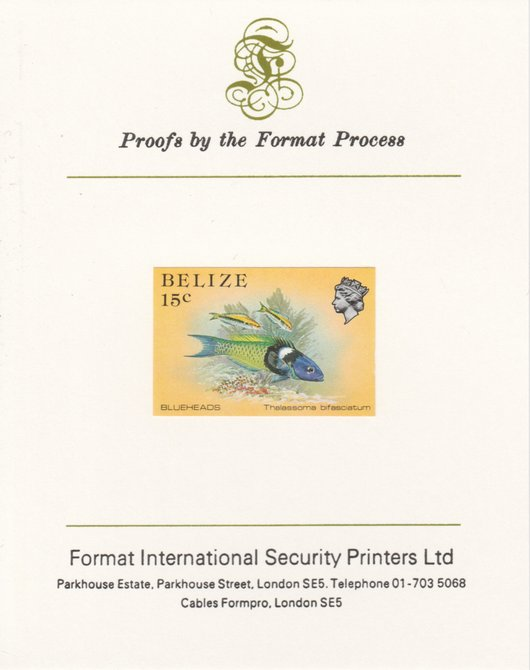 Belize 1984-88 Blueheads 15c def imperf proof mounted on Format International proof card as SG 773