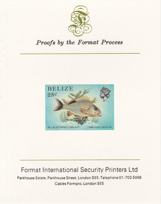 Belize 1984-88 Blue-striped Grunt 25c def imperf proof mounted on Format International proof card as SG 774
