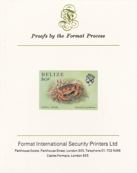 Belize 1984-88 Coral Crab 50c def imperf proof mounted on Format International proof card as SG 775