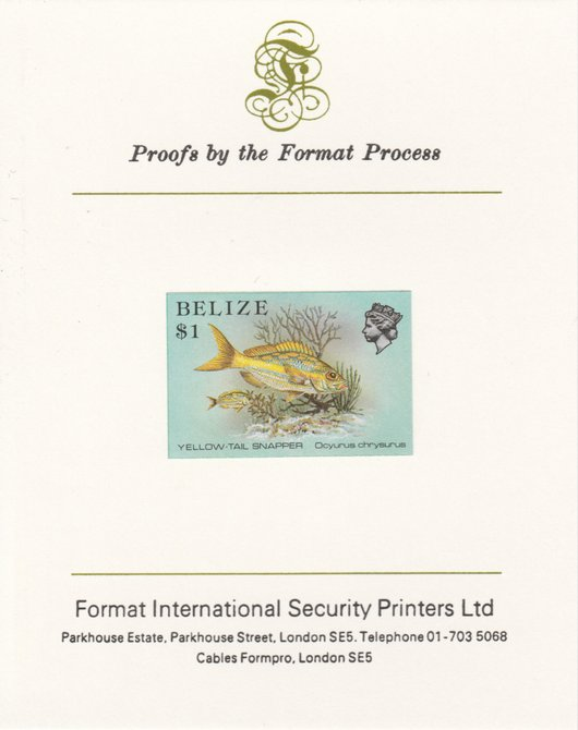 Belize 1984-88 Snapper fish $1 def imperf proof mounted on Format International proof card as SG 778