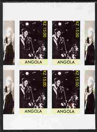 Angola 1999 Elvis Presley imperf sheetlet containing 4 values with Marilyn in margins, unmounted mint. Note this item is privately produced and is offered purely on its t...