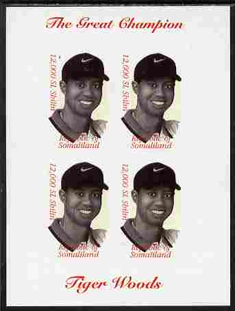 Somaliland 2000 Tiger Woods (The Great Champion) imperf sheetlet containing 4 x 12,000sl values unmounted mint. Note this item is privately produced and is offered purely on its thematic appeal