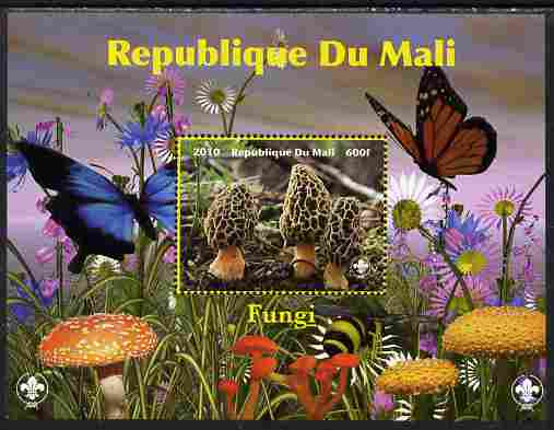 Mali 2010 Fungi #1 perf s/sheet with Butterflies & Scouts Logo unmounted mint. Note this item is privately produced and is offered purely on its thematic appeal