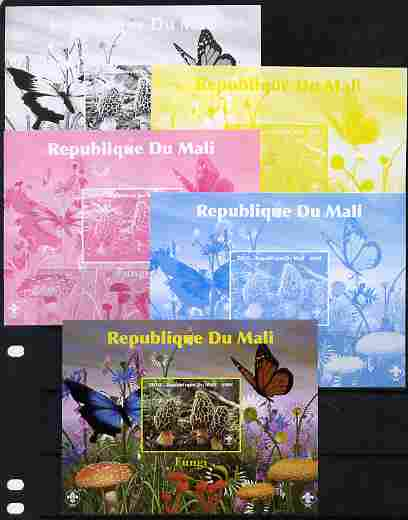 Mali 2010 Fungi #1 s/sheet with Butterflies & Scouts Logo - the set of 5 imperf progressive proofs comprising the 4 individual colours plus all 4-colour composite, unmounted mint