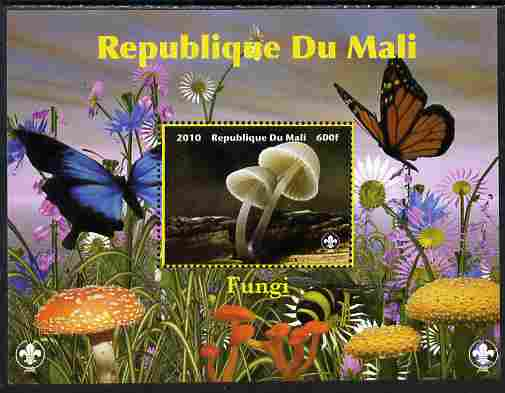 Mali 2010 Fungi #2 perf s/sheet with Butterflies & Scouts Logo unmounted mint. Note this item is privately produced and is offered purely on its thematic appeal
