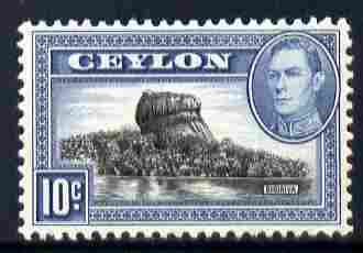 Ceylon 1938-49 KG6 Sigiriya (Lion Rock) 10c watermark upright unmounted mint, SG 389a, stamps on , stamps on  kg6 , stamps on rocks, stamps on tourism