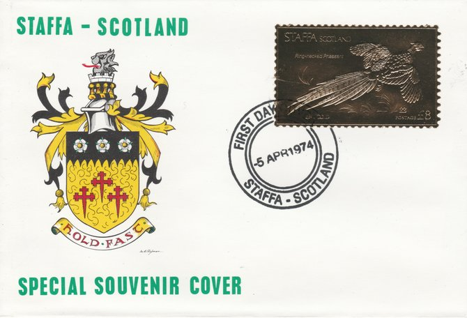 Staffa 1976 Ring-Necked Pheasant (Male) \A38 value perforated & embossed in 23 carat gold foil on souvenir cover with first day cancel (Rosen 283a)