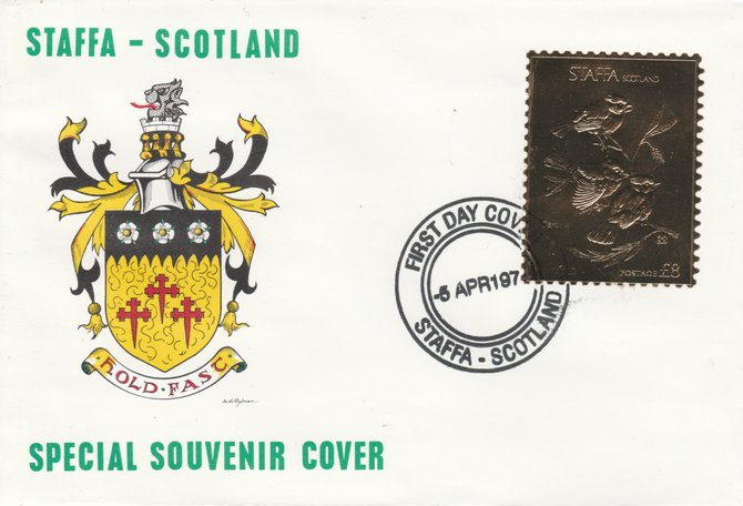 Staffa 1976 Cardinal (Male) \A38 value perforated & embossed in 23 carat gold foil on souvenir cover with first day cancel (Rosen 284a)