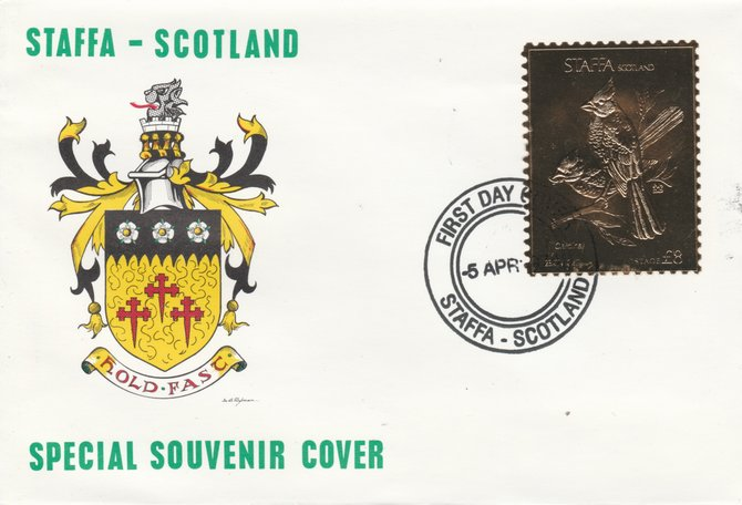 Staffa 1976 Cardinal (Female) \A38 value perforated & embossed in 23 carat gold foil on souvenir cover with first day cancel (Rosen 284b)