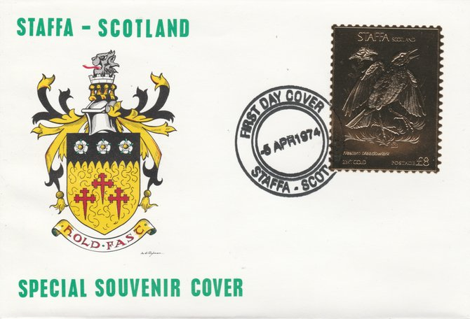Staffa 1976 Western Meadowlark (Male) \A38 value perforated & embossed in 23 carat gold foil on souvenir cover with first day cancel (Rosen 285a)