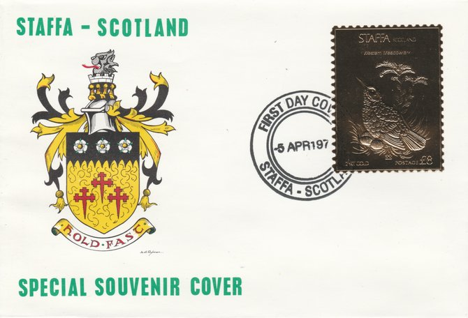 Staffa 1976 Western Meadowlark (Female) \A38 value perforated & embossed in 23 carat gold foil on souvenir cover with first day cancel (Rosen 285b)