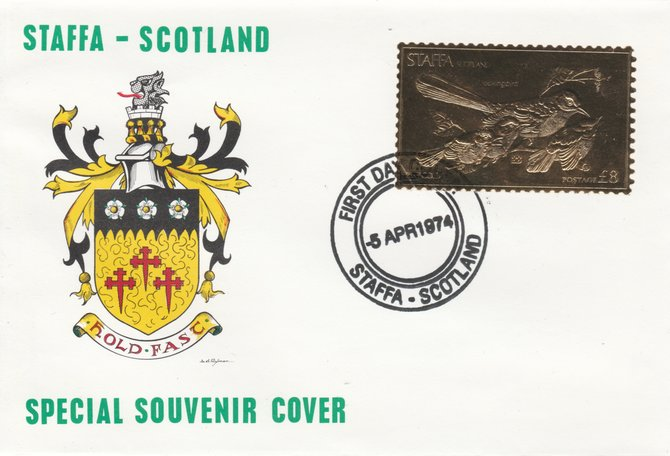 Staffa 1976 Mockingbird (Male) \A38 value perforated & embossed in 23 carat gold foil on souvenir cover with first day cancel (Rosen 286a)