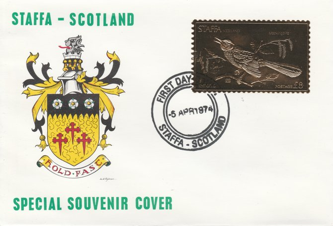 Staffa 1976 Mockingbird (Female) \A38 value perforated & embossed in 23 carat gold foil on souvenir cover with first day cancel (Rosen 286b)