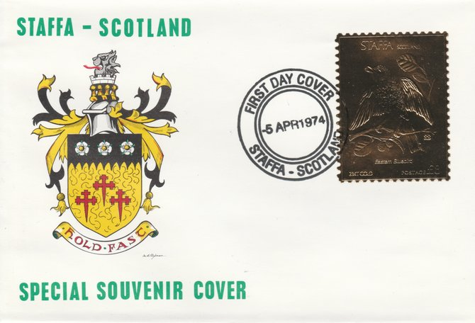 Staffa 1976 Eastern Bluebird (Female) \A38 value perforated & embossed in 23 carat gold foil on souvenir cover with first day cancel (Rosen 288b)
