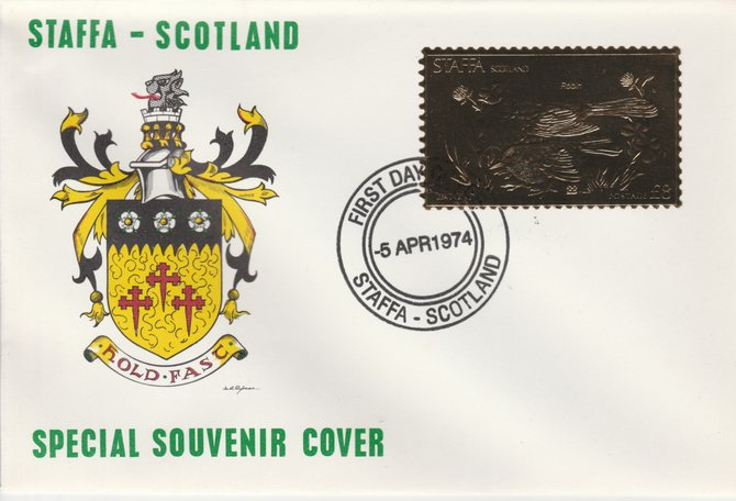 Staffa 1976 Robin (Female) \A38 value perforated & embossed in 23 carat gold foil on souvenir cover with first day cancel (Rosen 289b)