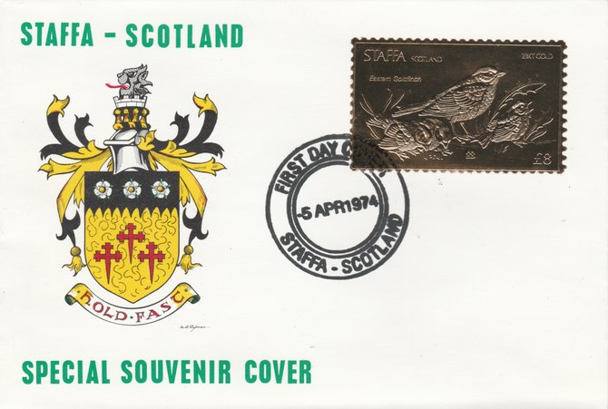 Staffa 1976 Eastern Goldfinch (Male) \A38 value perforated & embossed in 23 carat gold foil on souvenir cover with first day cancel (Rosen 291a)