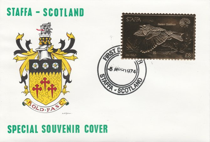 Staffa 1976 Eastern Goldfinch (Female) \A38 value perforated & embossed in 23 carat gold foil on souvenir cover with first day cancel (Rosen 291b)