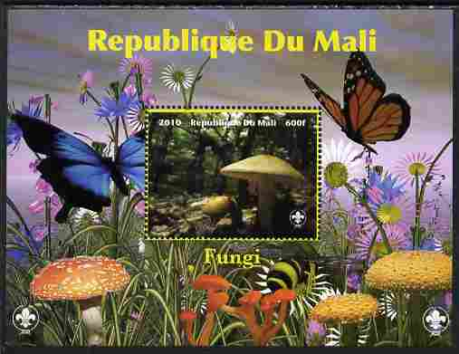 Mali 2010 Fungi #6 perf s/sheet with Butterflies & Scouts Logo unmounted mint