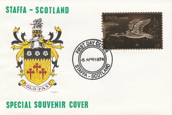Staffa 1976 Common Loon (Female) \A38 value perforated & embossed in 23 carat gold foil on souvenir cover with first day cancel (Rosen 292b)