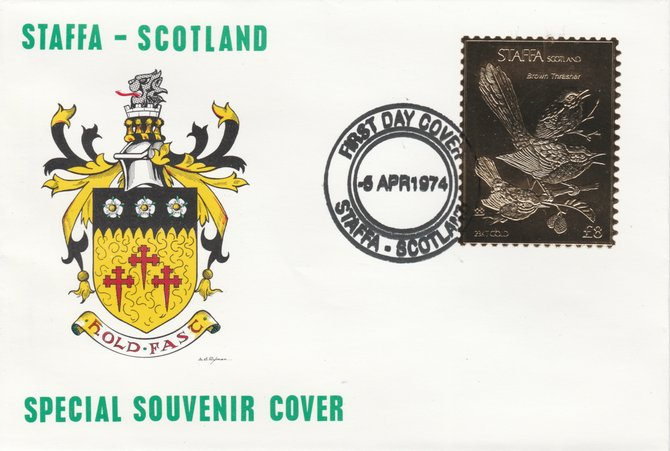 Staffa 1976 Brown Thrasher (Male) \A38 value perforated & embossed in 23 carat gold foil on souvenir cover with first day cancel (Rosen 295a)