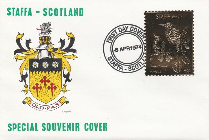 Staffa 1976 Brown Thrasher (Female) \A38 value perforated & embossed in 23 carat gold foil on souvenir cover with first day cancel (Rosen 295b)