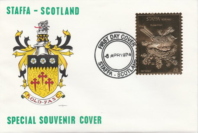 Staffa 1976 Purple Finch (Male) \A38 value perforated & embossed in 23 carat gold foil on souvenir cover with first day cancel (Rosen 296a)