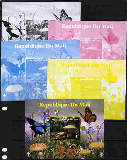 Mali 2010 Fungi #6 s/sheet with Butterflies & Scouts Logo - the set of 5 progressive proofs comprising the 4 individual colours (imperf) plus all 4-colour composite (perf) unmounted mint