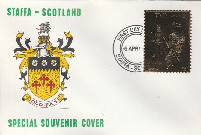 Staffa 1976 Yellow Hammer (Male) \A38 value perforated & embossed in 23 carat gold foil on souvenir cover with first day cancel (Rosen 298a)
