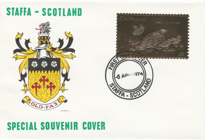 Staffa 1976 Alaska Willow Ptarmigan (Male) \A38 value perforated & embossed in 23 carat gold foil on souvenir cover with first day cancel (Rosen 299a), stamps on birds    ptarmigan     game