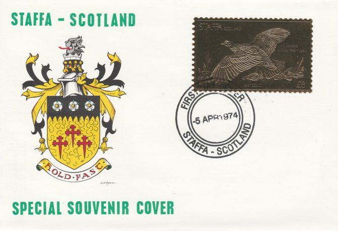 Staffa 1976 Alaska Willow Ptarmigan (Female) \A38 value perforated & embossed in 23 carat gold foil on souvenir cover with first day cancel (Rosen 299b)