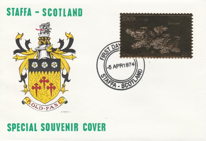 Staffa 1976 Chickadee (Male) \A38 value perforated & embossed in 23 carat gold foil on souvenir cover with first day cancel (Rosen 301a)
