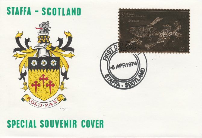 Staffa 1976 Chickadee (Female) \A38 value perforated & embossed in 23 carat gold foil on souvenir cover with first day cancel (Rosen 301b)