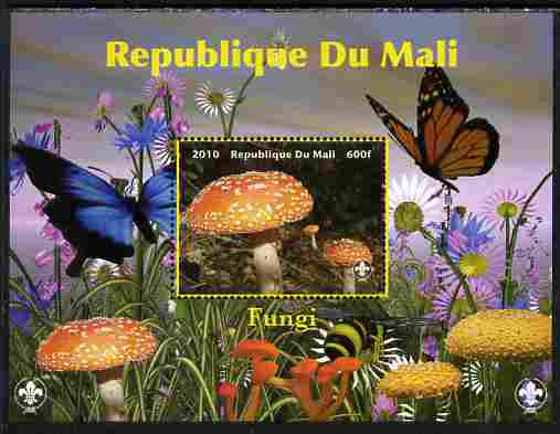 Mali 2010 Fungi #7 perf s/sheet with Butterflies & Scouts Logo unmounted mint. Note this item is privately produced and is offered purely on its thematic appeal
