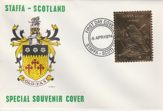 Staffa 1976 Lark Bunting (Male) \A38 value perforated & embossed in 23 carat gold foil on souvenir cover with first day cancel (Rosen 303a)