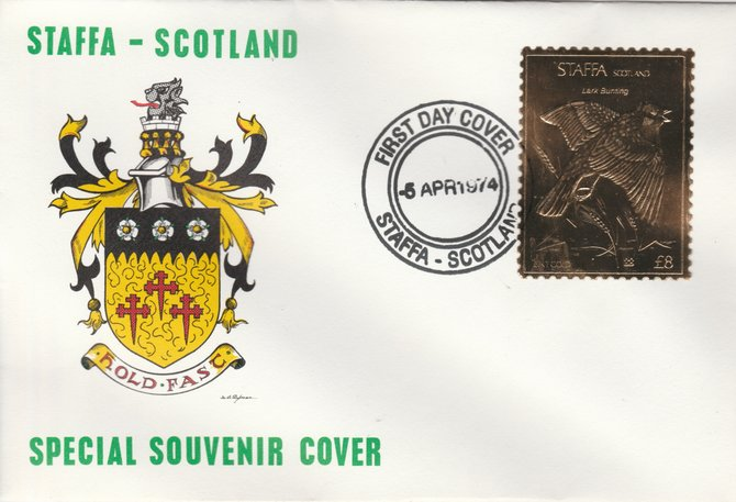Staffa 1976 Lark Bunting (Female) \A38 value perforated & embossed in 23 carat gold foil on souvenir cover with first day cancel (Rosen 303b)