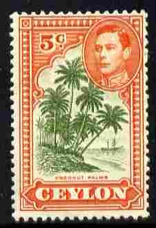 Ceylon 1938-49 KG6 Coconut Palms 5c P12 unmounted mint, SG 387g