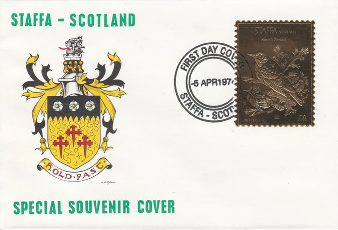 Staffa 1976 Hermit Thrush (Female) \A38 value perforated & embossed in 23 carat gold foil on souvenir cover with first day cancel (Rosen 310b), stamps on birds    thrush