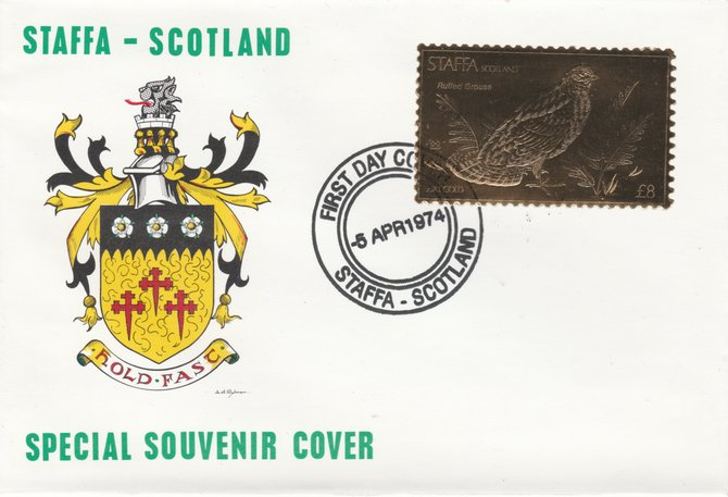 Staffa 1976 Ruffed Grouse (Male) \A38 value perforated & embossed in 23 carat gold foil on souvenir cover with first day cancel (Rosen 311a)