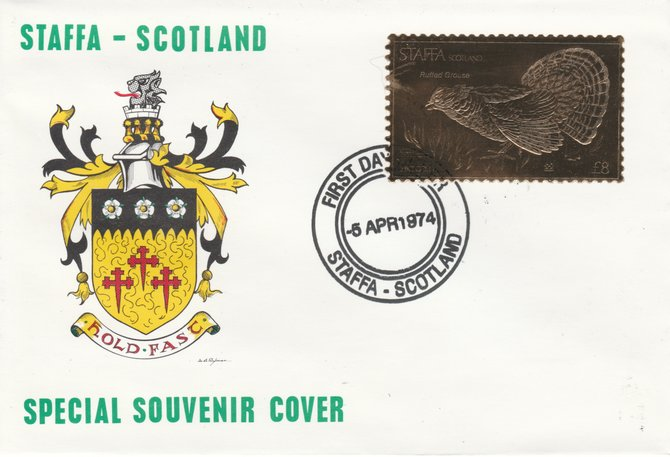 Staffa 1976 Ruffed Grouse (Female) \A38 value perforated & embossed in 23 carat gold foil on souvenir cover with first day cancel (Rosen 311b)