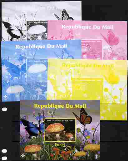 Mali 2010 Fungi #7 s/sheet with Butterflies & Scouts Logo - the set of 5 imperf progressive proofs comprising the 4 individual colours plus all 4-colour composite, unmounted mint