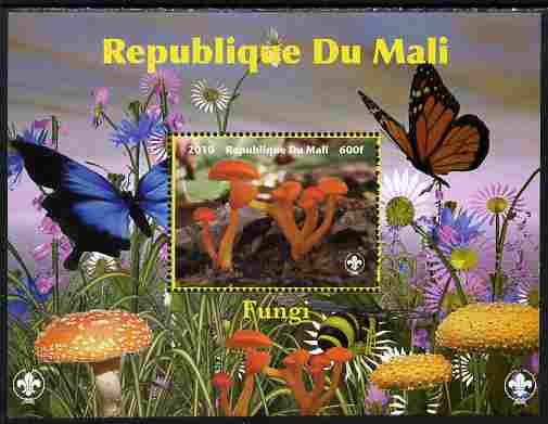 Mali 2010 Fungi #8 perf s/sheet with Butterflies & Scouts Logo unmounted mint. Note this item is privately produced and is offered purely on its thematic appeal