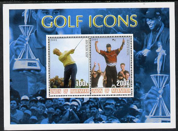 Myanmar 2001 Golf Icons (Jack Nicklaus & Tiger Woods) perf sheetlet containing 2 values unmounted mint