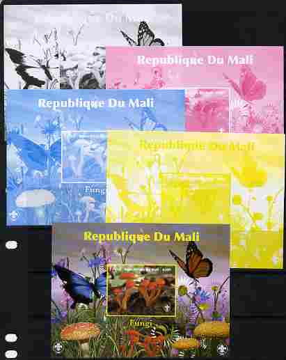 Mali 2010 Fungi #8 s/sheet with Butterflies & Scouts Logo - the set of 5 imperf progressive proofs comprising the 4 individual colours plus all 4-colour composite, unmounted mint