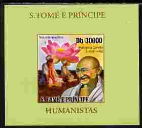 St Thomas & Prince Islands 2010 Humanitarians - Mahatma Gandhi individual imperf deluxe sheet unmounted mint. Note this item is privately produced and is offered purely on its thematic appeal