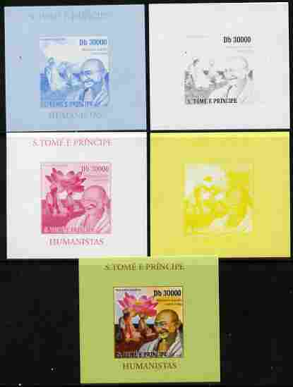 St Thomas & Prince Islands 2010 Humanitarians - Mahatma Gandhi individual deluxe sheet - the set of 5 imperf progressive proofs comprising the 4 individual colours plus all 4-colour composite, unmounted mint