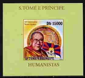 St Thomas & Prince Islands 2010 Humanitarians - Dalai Lama individual imperf deluxe sheet unmounted mint. Note this item is privately produced and is offered purely on its thematic appeal