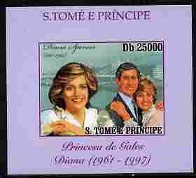St Thomas & Prince Islands 2010 Diana Princess of Wales #2 with Charles individual imperf deluxe sheet unmounted mint. Note this item is privately produced and is offered purely on its thematic appeal, stamps on personalities, stamps on diana, stamps on royalty, stamps on charles