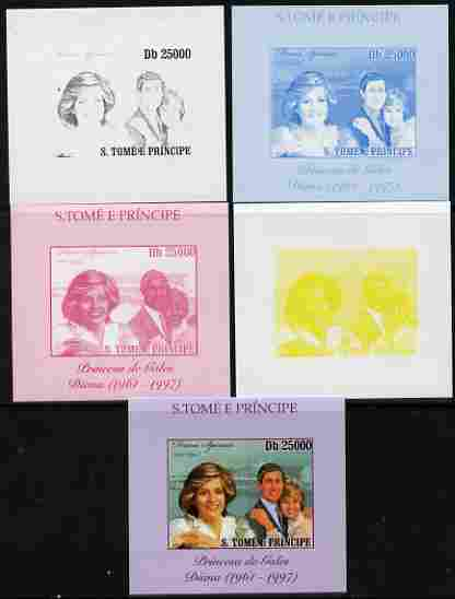 St Thomas & Prince Islands 2010 Diana Princess of Wales #2 with Charles individual deluxe sheet - the set of 5 imperf progressive proofs comprising the 4 individual colours plus all 4-colour composite, unmounted mint